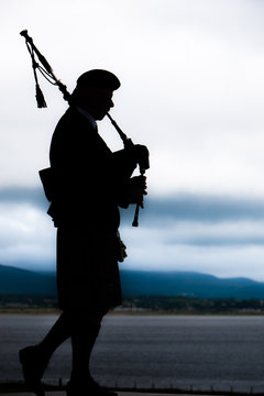 Bagpiper playing music