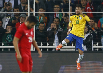 Neymar of Brazil celebrates his second goal against Turkey during their international friendly soccer match at Sukru Saracoglu stadium in Istanbul