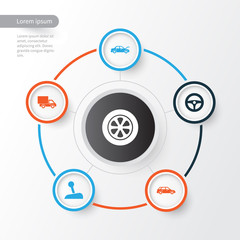 Car Icons Set. Collection Of Wheel, Hatchback, Lorry And Other Elements. Also Includes Symbols Such As Van, Lever, Wheel.