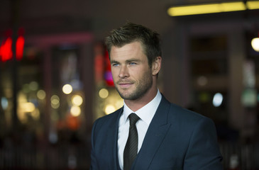 "Cast member Hemsworth poses at the premiere of ""Blackhat"" at the TCL Chinese theatre in Hollywood"