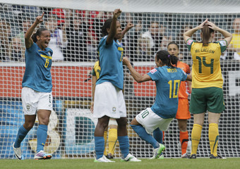 Brazil's Rosana celebrates her goal against Australia during their Women's World Cup Group D soccer match in Moenchengladbach