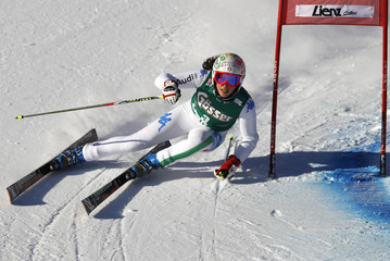 Italy's Brignone clears a gate during the first run of the women's giant slalom World Cup race in Lienz