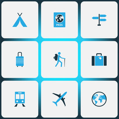 Traveling Colorful Icons Set. Collection Of Earth, Airplane, Passport And Other Elements. Also Includes Symbols Such As Railway, Earth, Direction.