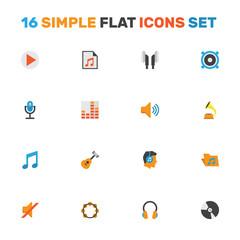 Music Flat Icons Set. Collection Of Shellac, Acoustic, Earpiece And Other Elements. Also Includes Symbols Such As Dj, Button, Rhythm.