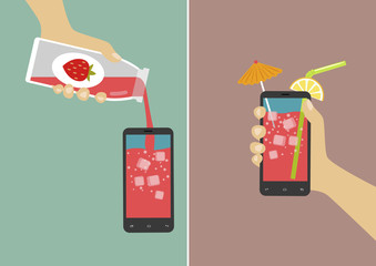 Hand pours juice into smartphone and holding it with ice cubes, umbrella and stick. Flat vector illustration