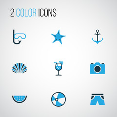 Season Colorful Icons Set. Collection Of Swimming Mask, Starfish, Camera And Other Elements. Also Includes Symbols Such As Shell, Swimming, Video.