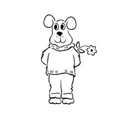 Sketchy doodle Dog Vector Illustration. outlined cartoon drawing sketch illustration vector.