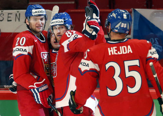 Czech Republic's players celebrate their goal against Slovenia during their 2013 IIHF Ice Hockey World Championship preliminary round match at the Globe Arena in Stockholm