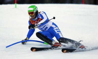 Italy's Innerhofer skis during the slalom run of the men's alpine skiing super combined event at the 2014 Sochi Winter Olympics