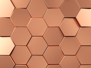 Rose Gold Hexagonal background. 3d rendering