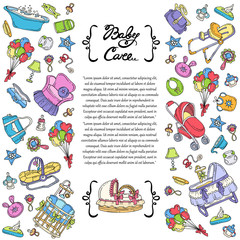 Vector cover with hand drawn colored symbols of baby care on white background. Illustration on the theme of newborn baby symbols