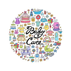 Vector cover with hand drawn colored symbols of newborn baby on white background. Illustration on the theme of baby care