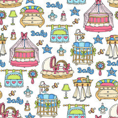Vector seamless pattern with hand drawn colored furniture, accessories for newborn baby. Pattern on the theme of children's room