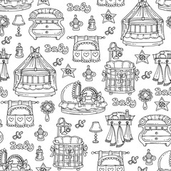 Vector seamless pattern with hand drawn furniture, accessories for newborn baby on white color. Pattern on the theme of children's room