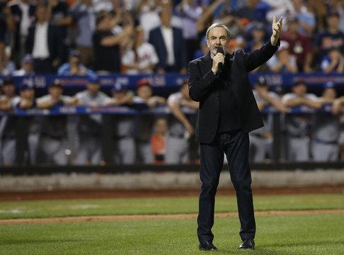 "Singer Neil Diamond performs ""Sweet Caroline"" in the eighth inning during Major League Baseball's All-Star Game in New York"