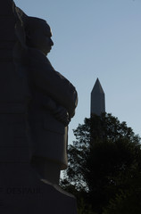 The Washington Monument is seen alongside the new Martin Luther King Jnr memorial in Washington