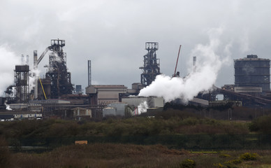 A general view shows the Tata steelworks in Port Talbot, Wales