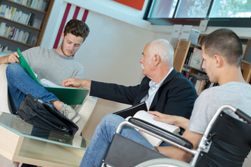 Students in meeting with teacher