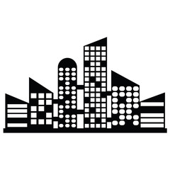 vector black city icons