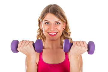 Young woman doing fitness exercise on isolated background