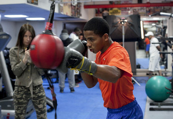"""Boxer Felix Verdejo participates in a """"Manhattan Media Workout"""" at the Mendez Boxing Gym in New York"""