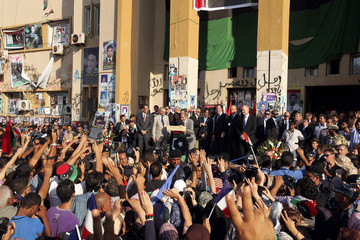 NTC chairman Jali speaks to a crowd near the court house in Benghazi