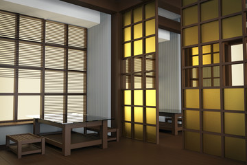 Interior of the restaurant in Japanese style. Rice paper in windows, sliding partitions, low table and stools, 3d render, 3d illustration