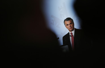 Swiss bank UBS CEO Ermotti delivers a speech during the seventh annual meeting of the Swiss Finance Institute in Zurich