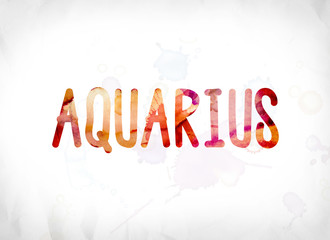 Aquarius Concept Painted Watercolor Word Art
