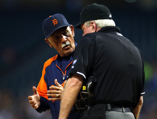 Tigers manager Leyland argues with home plate umpire Gorman after he ejected third baseman Cabrera in the first inning during their MLB game against White Sox in Chicago