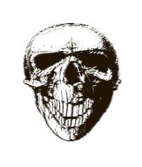 Halftone skull. Design element. Invitation, party. Mosaic, perforation, grunge.