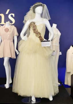 """Madonna's wedding dress to actor Sean Penn is pictured on display at Julien's Auctions for the upcoming """"Icons & Idols: Rock n Roll"""" auction in Beverly Hills"""
