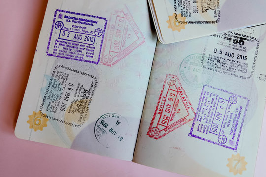 passport page with pink background