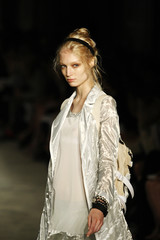 A model presents a creation from the Rag & Bone women's Spring 2011 collection during New York Fashion Week
