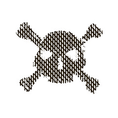 Halftone skull, line, Wave. Design element. Invitation, party. Billboard, flyer. Icon.