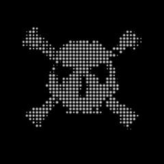 Halftone skull, line, Wave. Design element. Invitation, party. Billboard, flyer. Icon. Mosaic, pixel, square