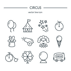 Circus icons line set. Vector illustration.