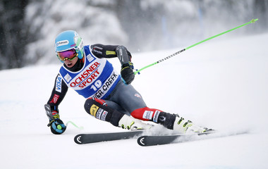 Ligety of the U.S. skis to fifth place during the Men's World Cup Super-G ski race in Beaver Creek