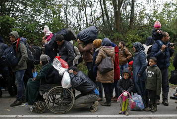 Migrants walk after crossing the border from Serbia in Bapska