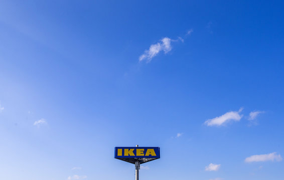The logo of Ikea is seen outside the Ikea Concept store, run by Inter Ikea brand and concept in Delft