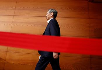 Bank of Japan (BOJ) Governor Haruhiko Kuroda attends a news conference in Tokyo