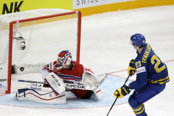 Sweden's Ekman-Larsson scores a penalty shootout goal past goalkeeper Salak of the Czech Republic during their Ice Hockey World Championship game at O2 arena in Prague