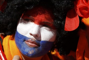 A fan waits for 2010 World Cup Group E soccer match between Denmark and the Netherlands in Johannesburg