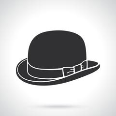 Silhouette of retro bowler hat