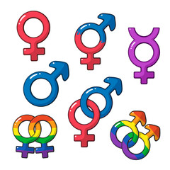 Cartoon set of gender symbols with rainbow signs