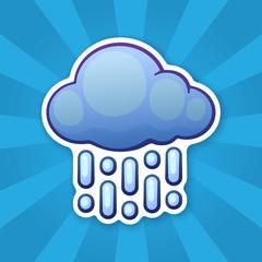 Sticker cloud with rain