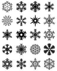 Set of different black snowflakes, illustration