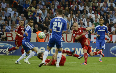 Robben of Bayern Munich tries to score against Chelsea during their Champions League final soccer match at the Allianz Arena in Munich