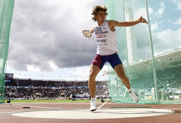 Adam Helcelet of Czech Republic competes in the discus event of the men's decathlon at the European Athletics Championships in Helsinki