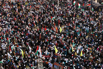 Palestinians attend a rally marking the 29th anniversary of the foundation of the Islamic Jihad movement in Gaza City